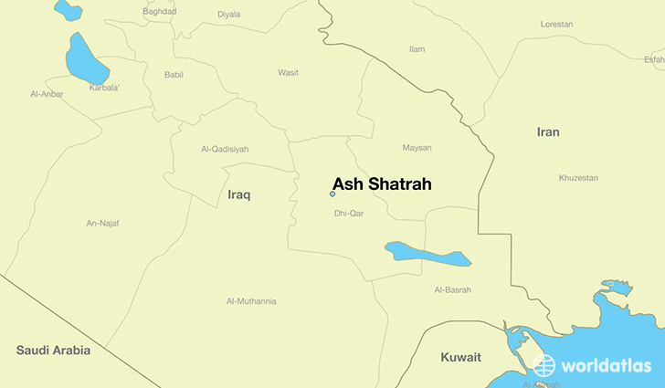 map showing the location of Ash Shatrah