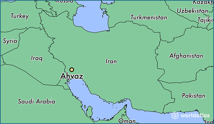 map showing the location of Ahvaz