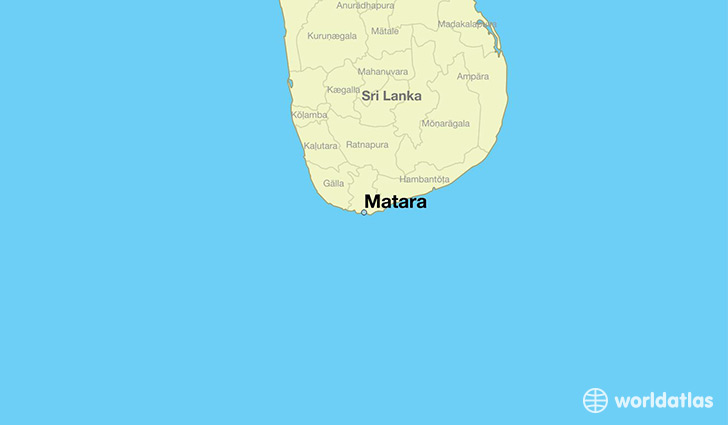 map showing the location of Matara