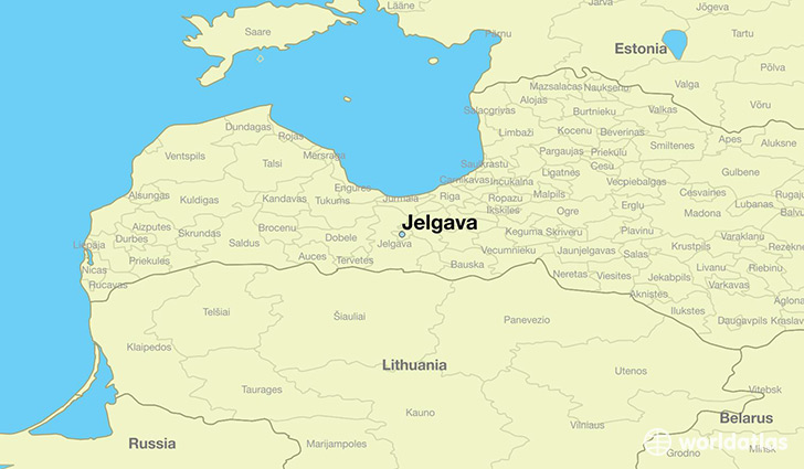 map showing the location of Jelgava