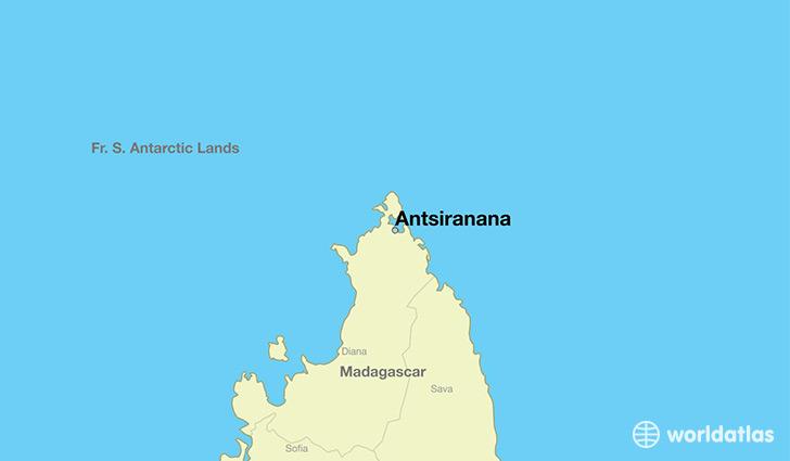 Where is antsiranana madagascar antsiranana diana map map showing the location of antsiranana gumiabroncs Gallery