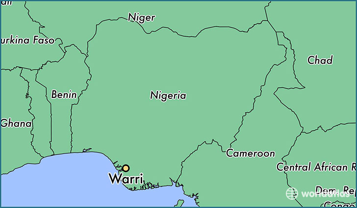 map showing the location of Warri