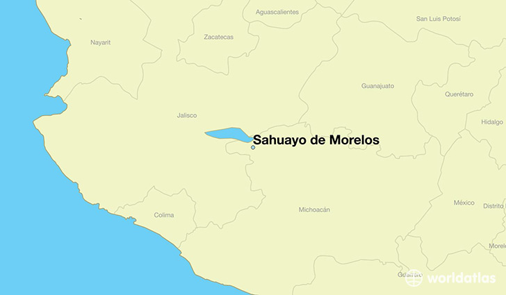 map showing the location of Sahuayo de Morelos