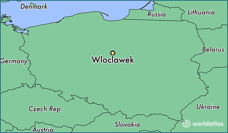 map showing the location of Wloclawek