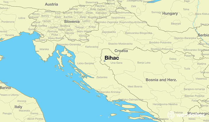 map showing the location of Bihac