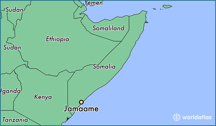map showing the location of Jamaame