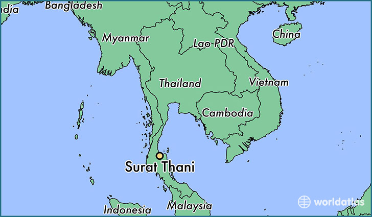 map showing the location of Surat Thani
