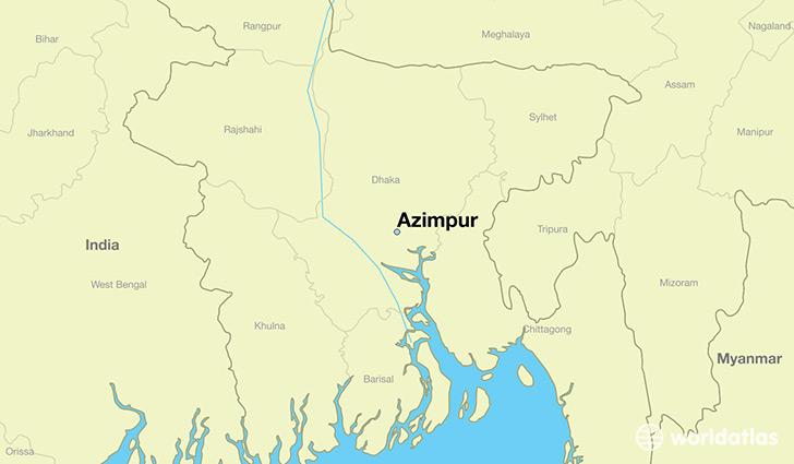 where is azimpur  bangladesh     azimpur  dhaka map