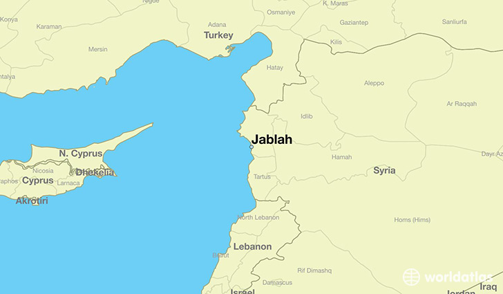 map showing the location of Jablah