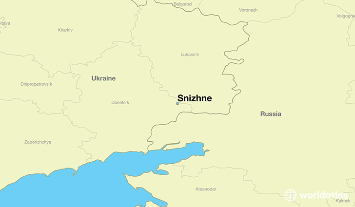 map showing the location of Snizhne