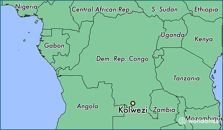map showing the location of Kolwezi