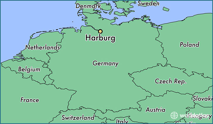 map showing the location of Harburg