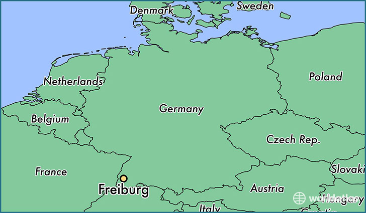 map showing the location of Freiburg