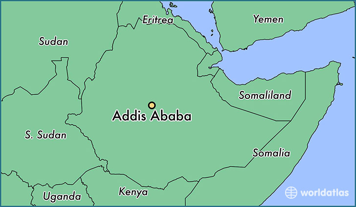 map showing the location of Addis Ababa