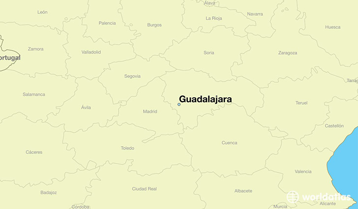 map showing the location of Guadalajara