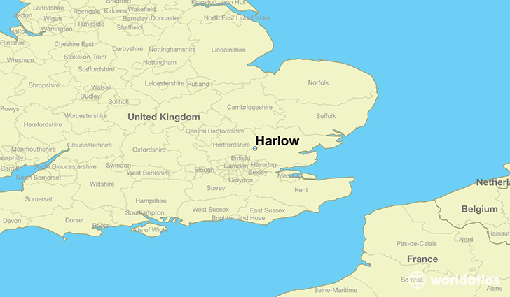 map showing the location of Harlow