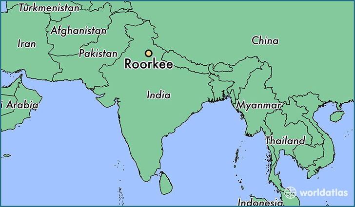 map showing the location of Roorkee