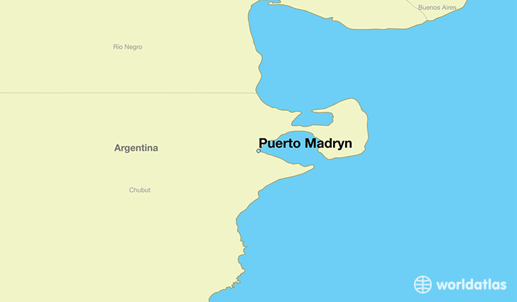 map showing the location of Puerto Madryn