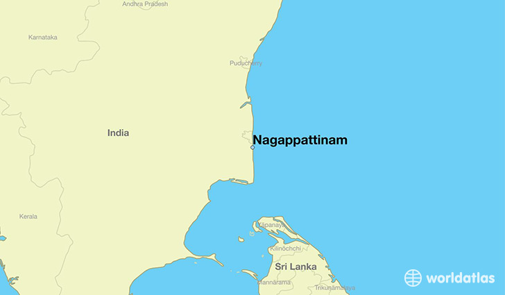 map showing the location of Nagappattinam
