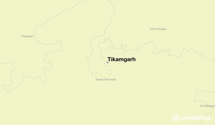map showing the location of Tikamgarh