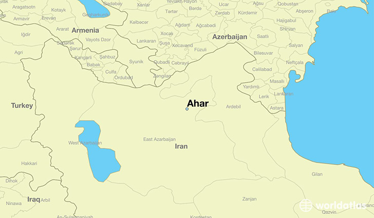 map showing the location of Ahar