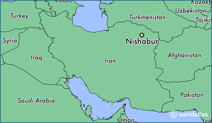 map showing the location of Nishabur