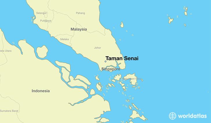 map showing the location of Taman Senai