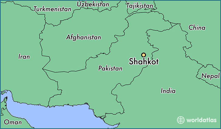 map showing the location of Shahkot