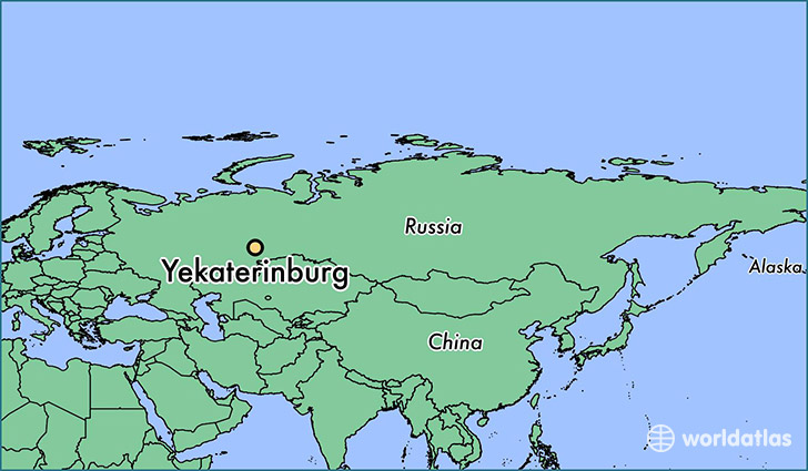 map showing the location of Yekaterinburg