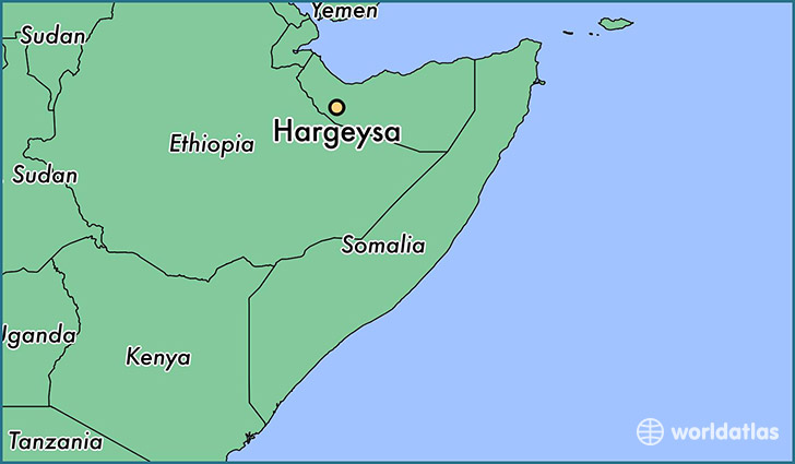map showing the location of Hargeysa