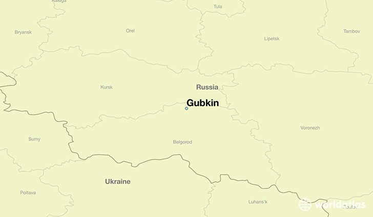 map showing the location of Gubkin