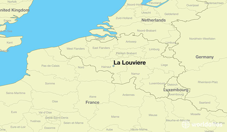 map showing the location of La Louviere