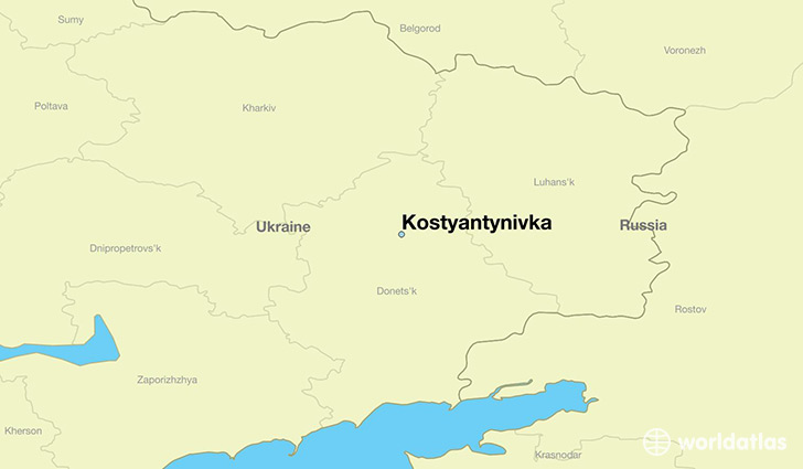 map showing the location of Kostyantynivka