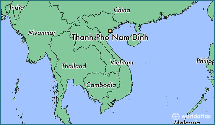 map showing the location of Thanh Pho Nam Dinh