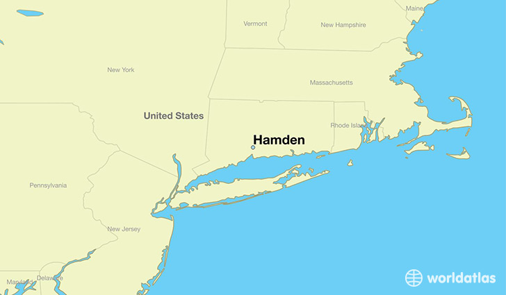 map showing the location of Hamden