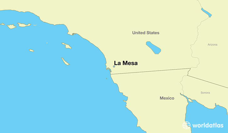 map showing the location of La Mesa