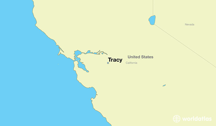 map showing the location of Tracy