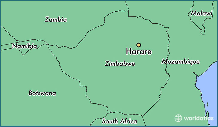 map showing the location of Harare