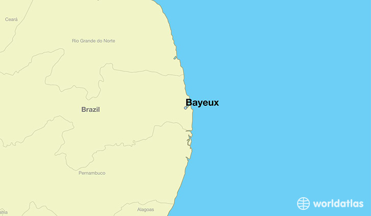 map showing the location of Bayeux