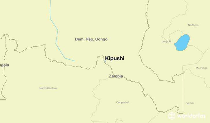 map showing the location of Kipushi