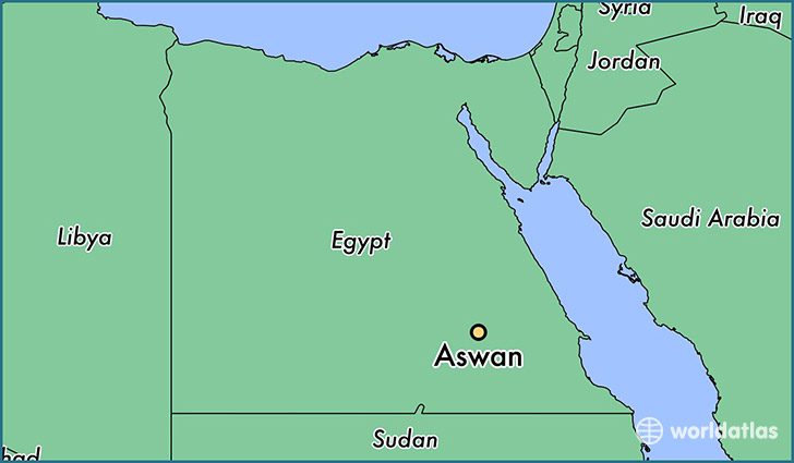 map showing the location of Aswan