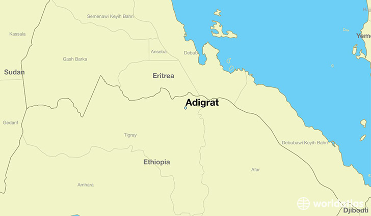 map showing the location of Adigrat