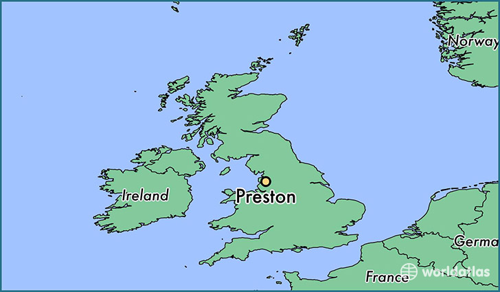 map showing the location of Preston