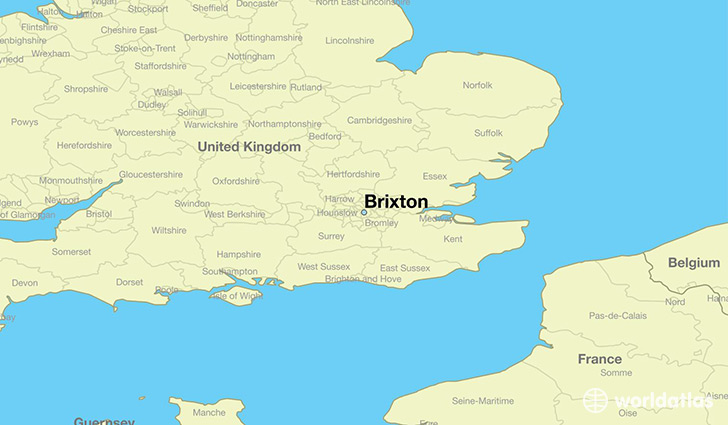 map showing the location of Brixton