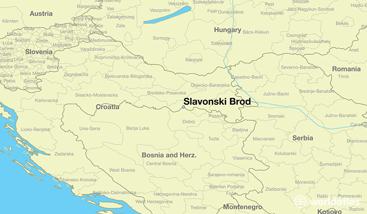map showing the location of Slavonski Brod