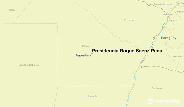 map showing the location of Presidencia Roque Saenz Pena