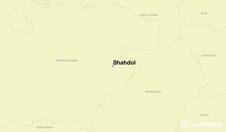 map showing the location of Shahdol