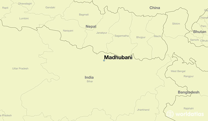 map showing the location of Madhubani
