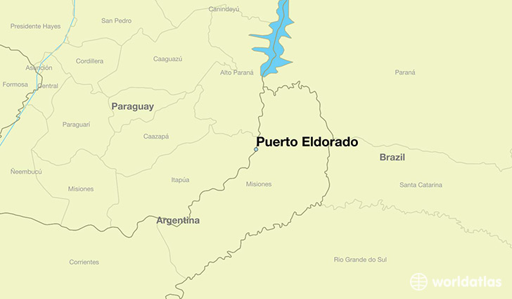 map showing the location of Puerto Eldorado