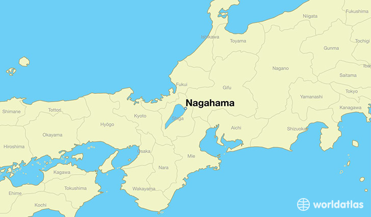 map showing the location of Nagahama